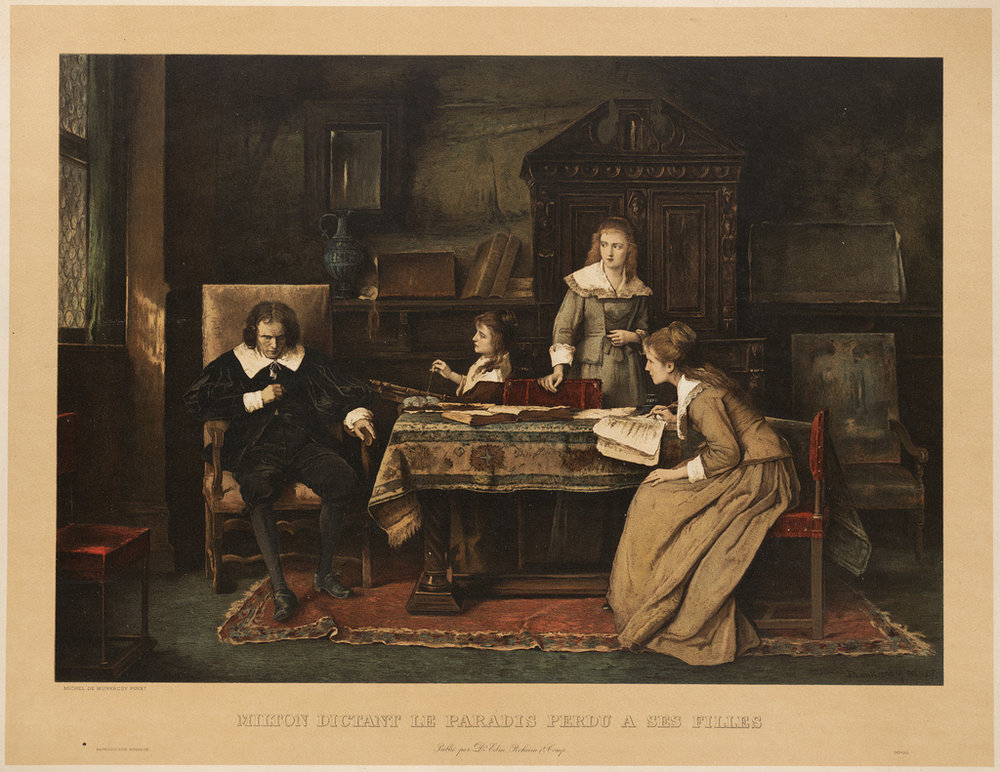 An ocularly benighted Milton dictates the  opus  to his daughters