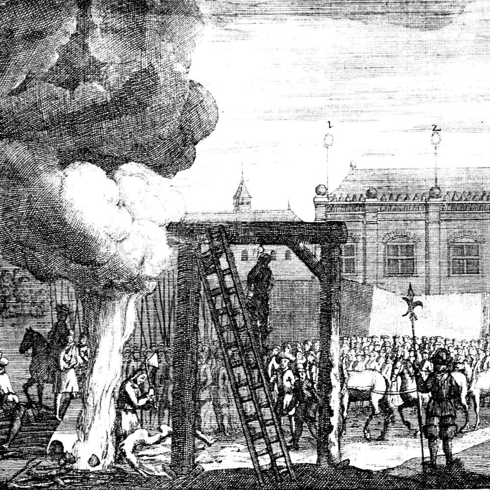 Cromwell heads to the gallows in a contemporary engraving.