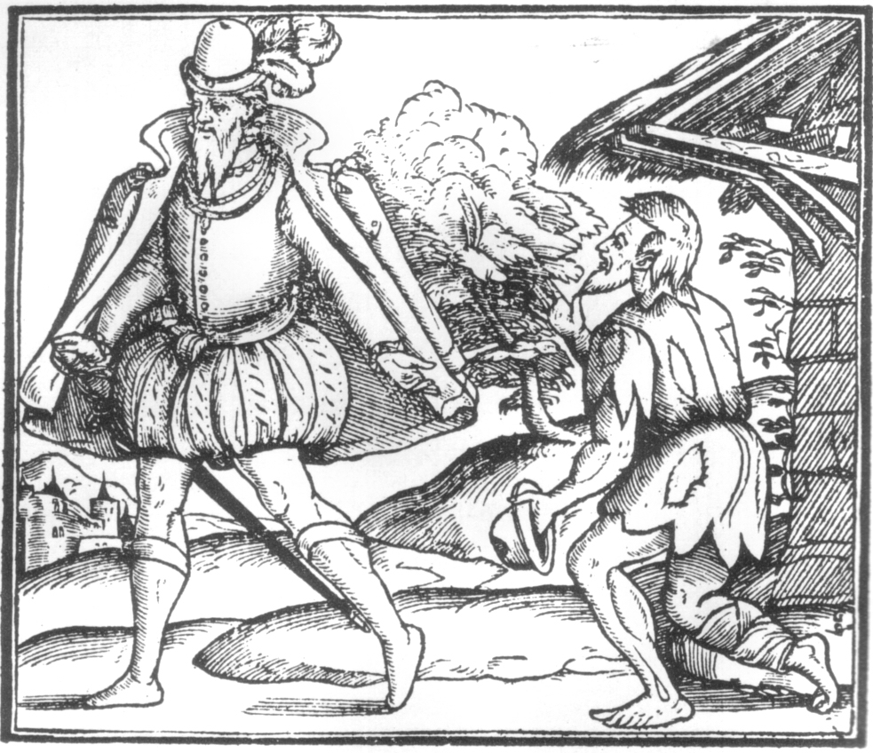 An apparently apathetic fief throws alms to a beggar.