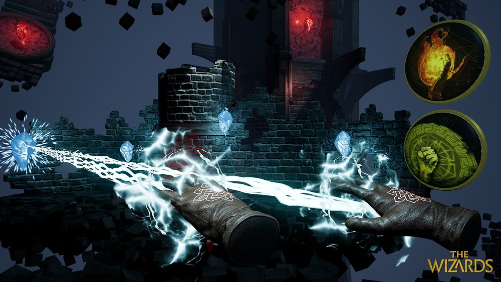 A player casts this spell in The Wizards by thrusting their hands forward with the triggers held.