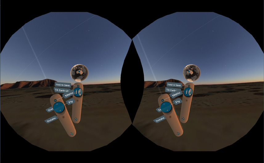 In Google Earth VR, the controllers always show you what the buttons do. It's easy to remember that way!