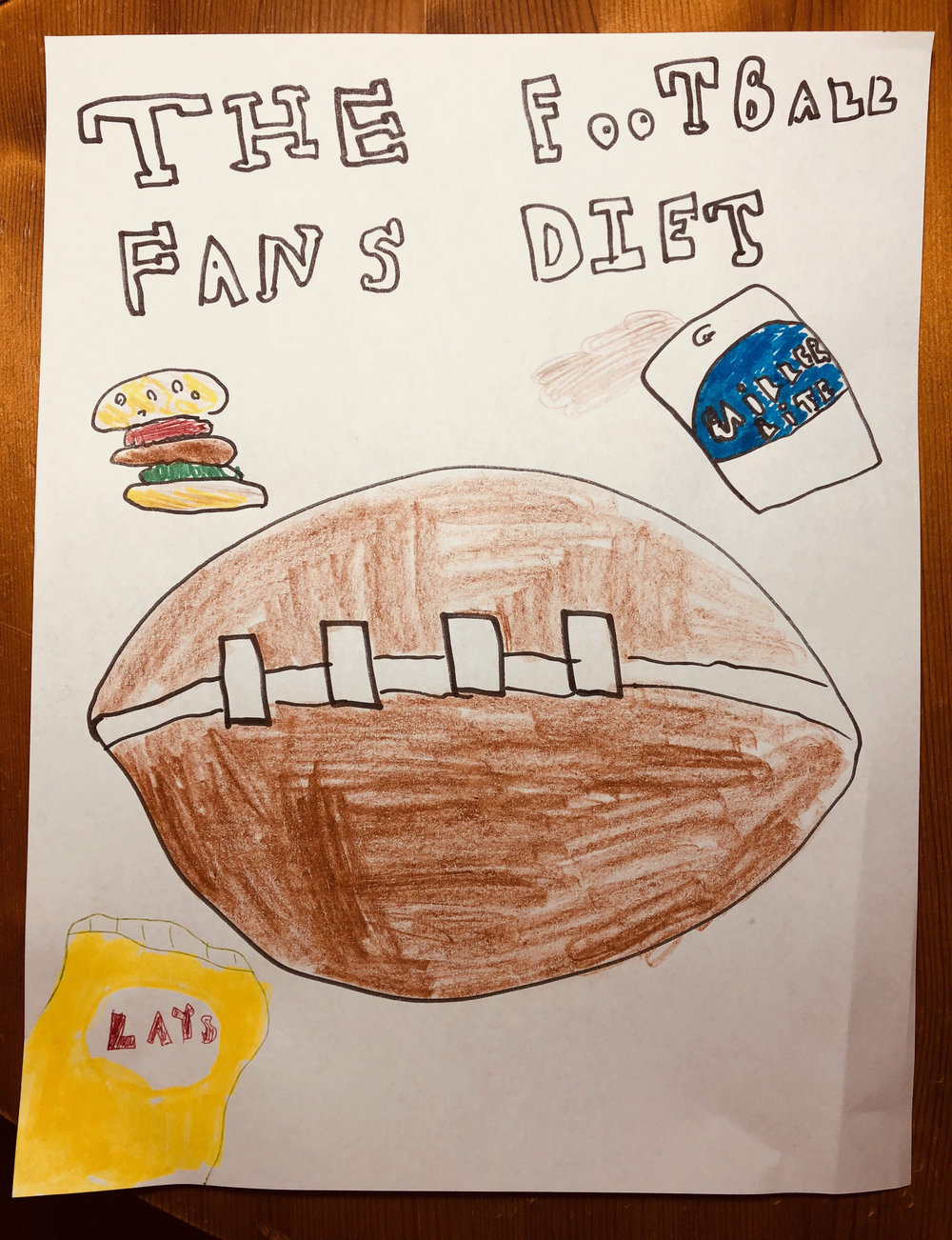 My son's impression of The Football Fan's Diet…