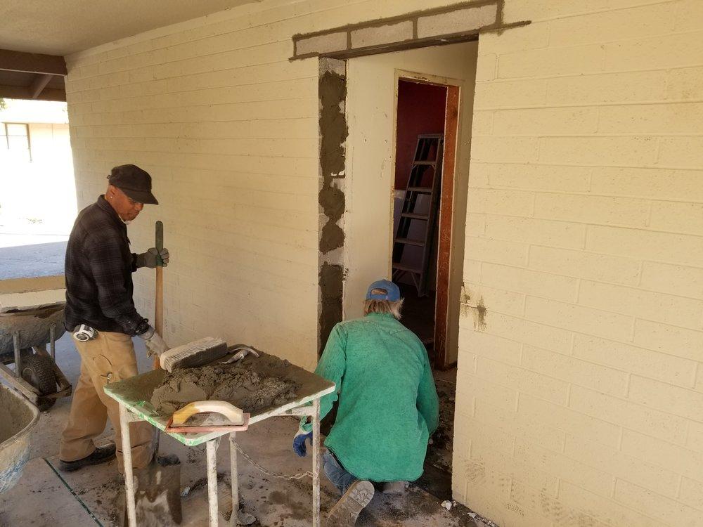 Cutting door through concrete block