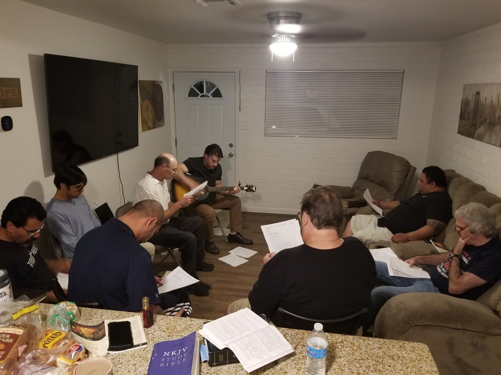 Worship music in our weekly Bible study