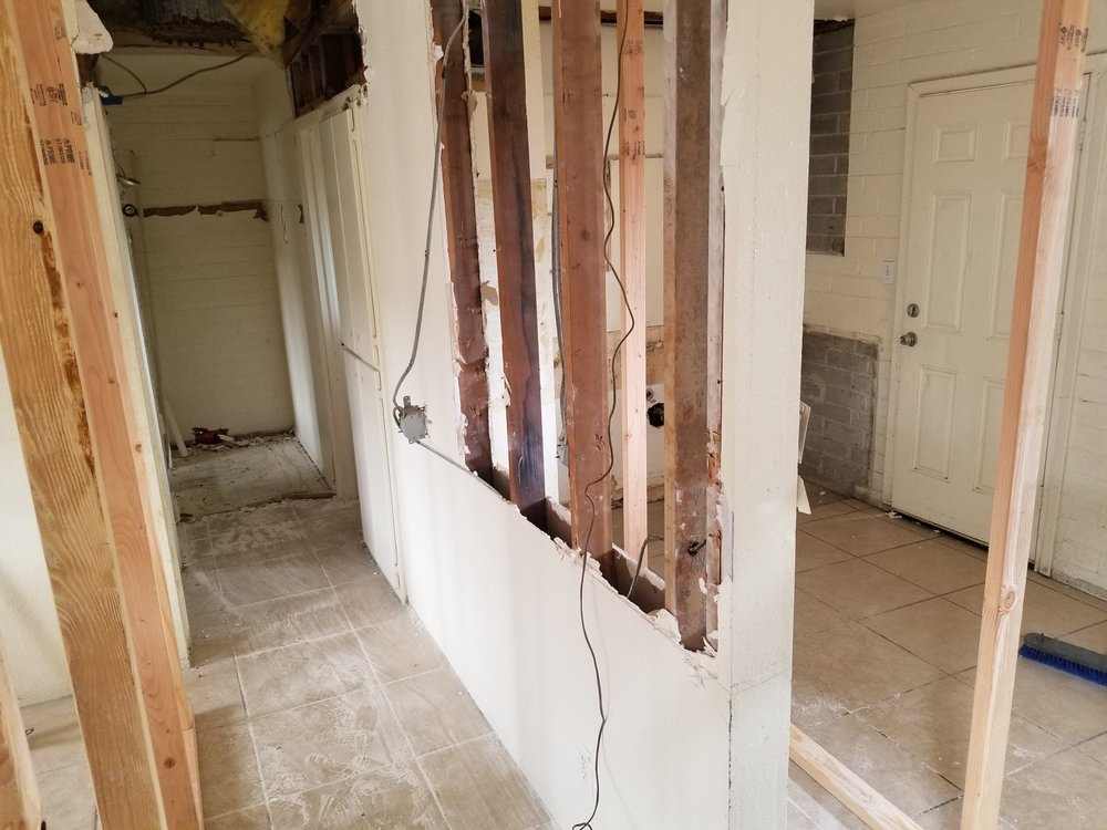 Temp walls to install beam in kitchen