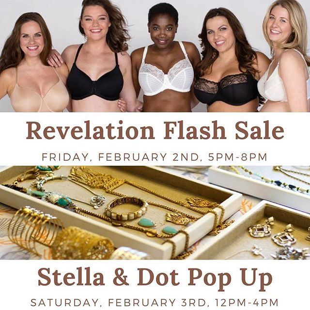 This weekend join us for two events! 🙌 On Friday, February 3rd join Revelation in Fit between 5pm-8pm for a flash sale! 🙀 Save on your favorite styles while you stroll @dtlosaltos! But, in order to participate in this sale you must mention this instagram post! Mention it to your fitter when you're checking out. As a note our hours will be slightly different that day, we'll be open from 12pm-8pm instead. Then on Saturday, February 3rd at 12pm we'll be having Independent Stylist Shannon Greene from @stelladot join us for a Pop-Up shop! She'll have the latest accessories for the upcoming spring season including the perfect gifts for Valentines Day. 💕We look forward to seeing you all this weekend! . . . . . . . #revelation #revelationinfit #losaltos #downtownlosaltos #sanjose #sanjosecalifornia #paloalto #mountainview #siliconvalley #siliconvalleylife #boutique #boutiqueshopping #braboutique #lingerieboutique #smallbusiness #shopsmall #smallbusinesssaturday #localbusiness #shoplocal #saturdaysale #sale #flashsale #stelladotstyle #stelladot #stelladotstylist #jewelry #valentinesday