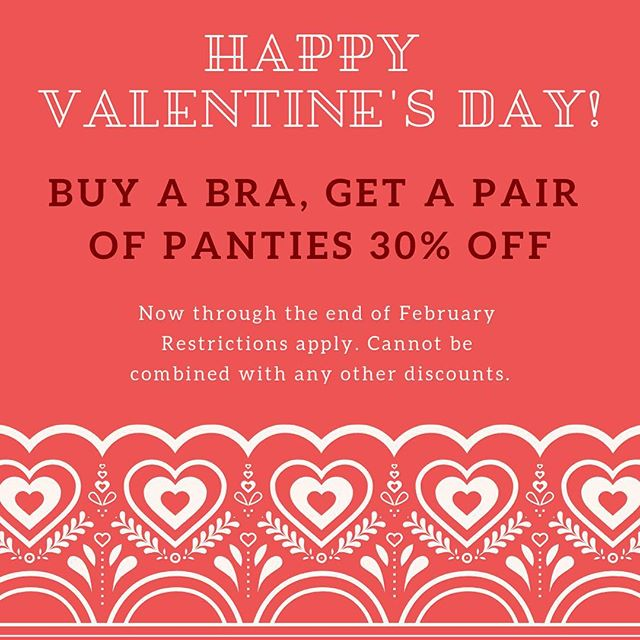 Happy Valentine's Day from all of us at Revelation in Fit! We hope you spend it however makes you happiest, and if a great deal on undies would make you feel festive, come on in and see us! . .⠀ .⠀ .⠀ #revelationinfit #revelation #demystifyingthedd #sanfrancisco #bodypositivity #bras #brasthatfit #brafitting #brafashion #intimates #lovelingerie #lingeriestore #confident #loveyourbody #beautybeyondsize #lovetheskinyourein #knowyourbody #selflove #educateyourself #selfcare #treatyoself #shopsmall #sfbayarea #valentines #sale #happyvalentinesday❤️