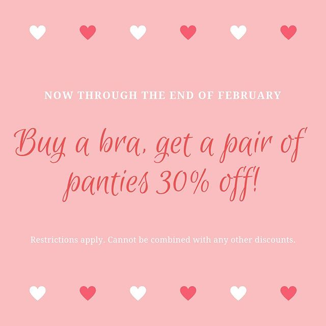 One week left for this great deal! Hurry in for 30% off any pair of panties with purchase of any bra! Ends 2/28/19 .⠀ .⠀ .⠀ .⠀ #revelationinfit #revelation #demystifyingthedd #sanfrancisco #bodypositivity #bras #brasthatfit #brafitting #brafashion #intimates #lovelingerie #lingeriestore #confident #loveyourbody #beautybeyondsize #lovetheskinyourein #knowyourbody #selflove #educateyourself #selfcare #treatyoself #shopsmall #sfbayarea #valentines #sale #happyvalentinesday❤️
