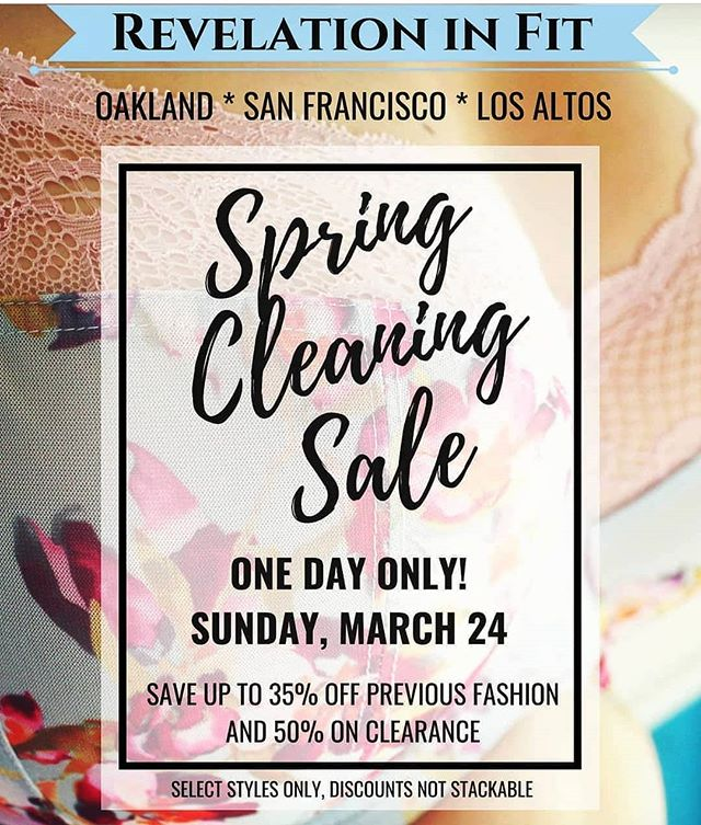 Come in this Sunday, March 24th for our annual #springcleaning sale! All three locations are making some room for new inventory by giving you a great reason to come in for some new bras in older fashion styles. Appointments are going fast and highly recommended!