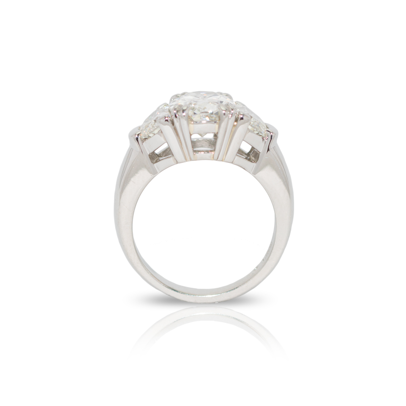 Custom Platinum 3 Stone Diamond And Half Moon Ring Cdbcr035 Menashe Sons Jewelers