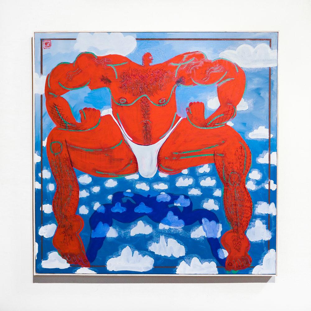 """""""bobby bulk"""" - 36 x 36 """"Acrylic, Oil & Ink on Canvas"""