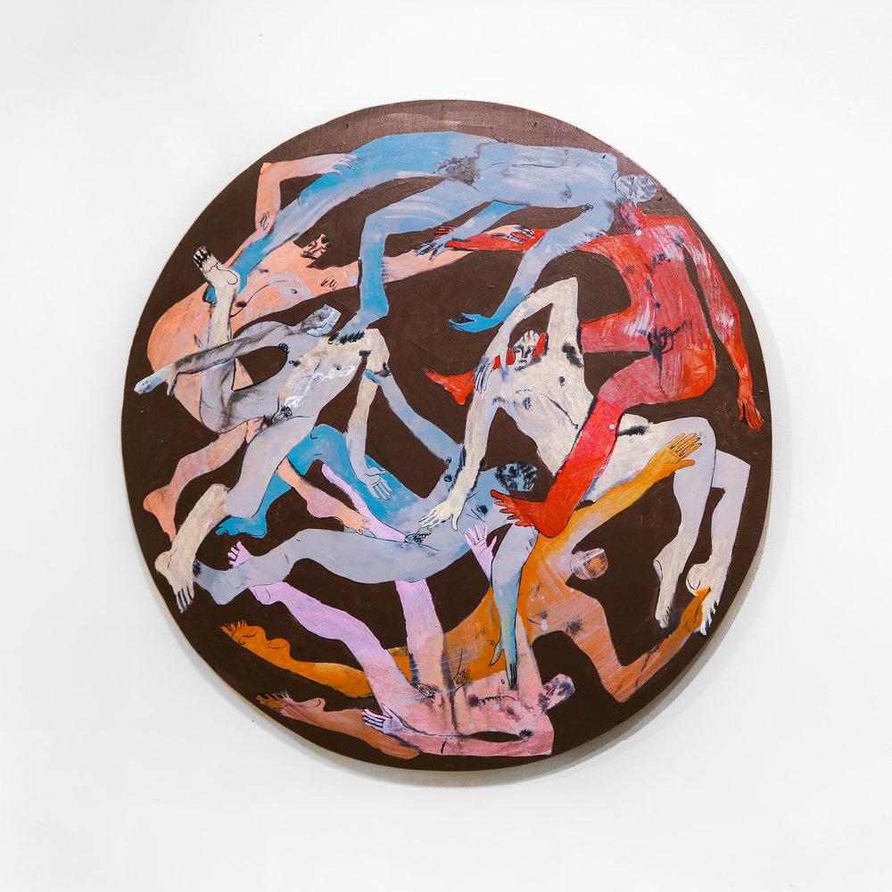 """""""astrogliding"""" - 36"""" roundAcrylic & Ink on Wood Panel"""