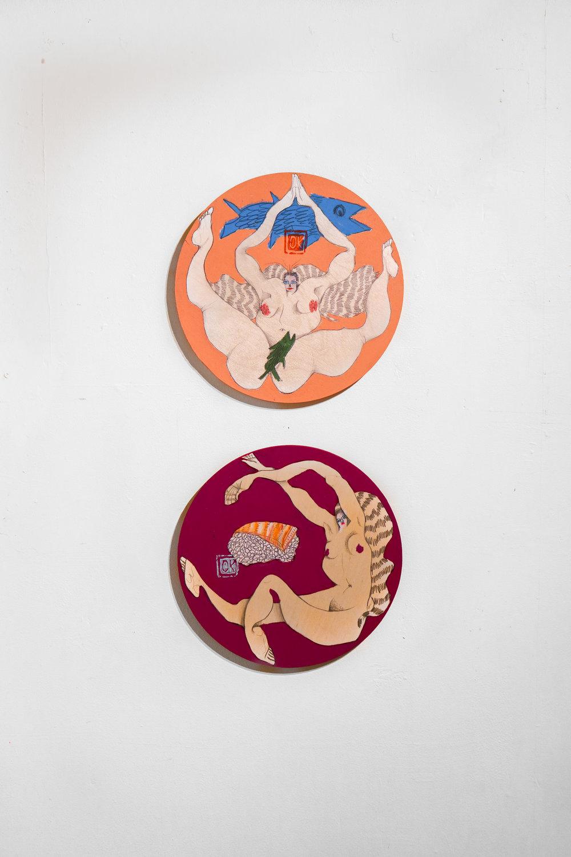 """2 Fish 4 her own Good""&""Sake sister"" - 12"" roundAcrylic, Oil & Canvas on Wood Panel"
