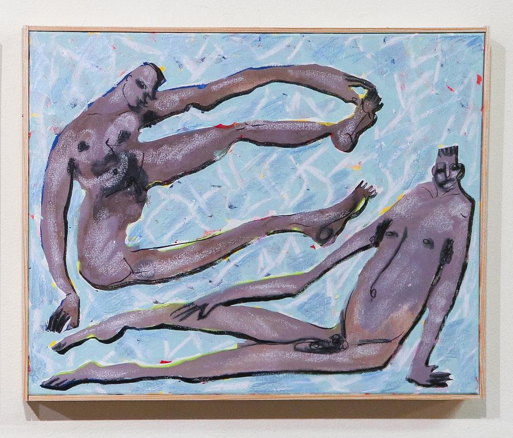 """""""poolside boys wanna party"""" - 16 x 20 """"Acrylic, Oil & Ink on Canvas"""