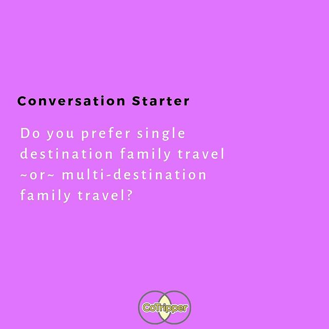 Let's chat about it ✨⁣ ⁣ We wanna know if you prefer a single destination or multi-destination for family travel? ⁣ ⁣ Maybe you dig both! Share what considerations impact the type of travel you book! #CoTripper ⁣ ⁣ #travel #travelwithkids #travelingwithtoddlers #seetheworld #singlemom #singlemomlife #travelingmom #kidswhotravel #familytravel #singlemum #singlemumtravel #travelingwithkids #wanderlust #kidswhotravel #travelmom #solomom #solomoms #cotripper #travel #traveling #kidstravel #coparent #lifeafterdivorce #familytrip #trips #coparenting #singlemombychoice #choicemom #travelplanning #sharingeconomy #bringthekids
