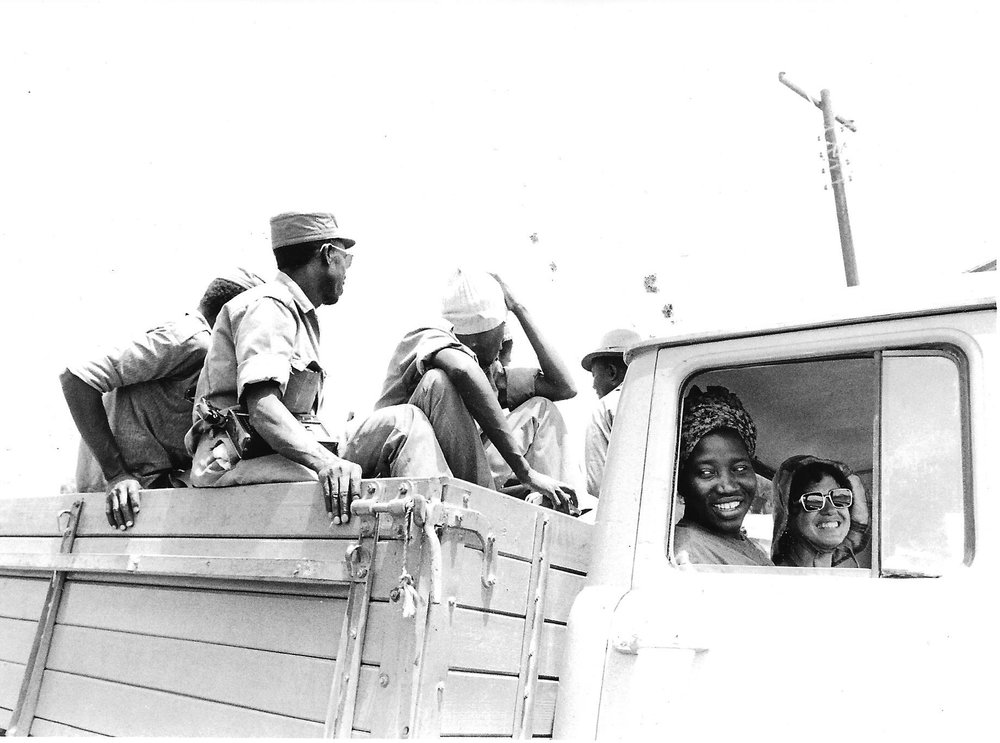 Setting off by truck for first part of journey into the liberated zones:  Most was done by foot.