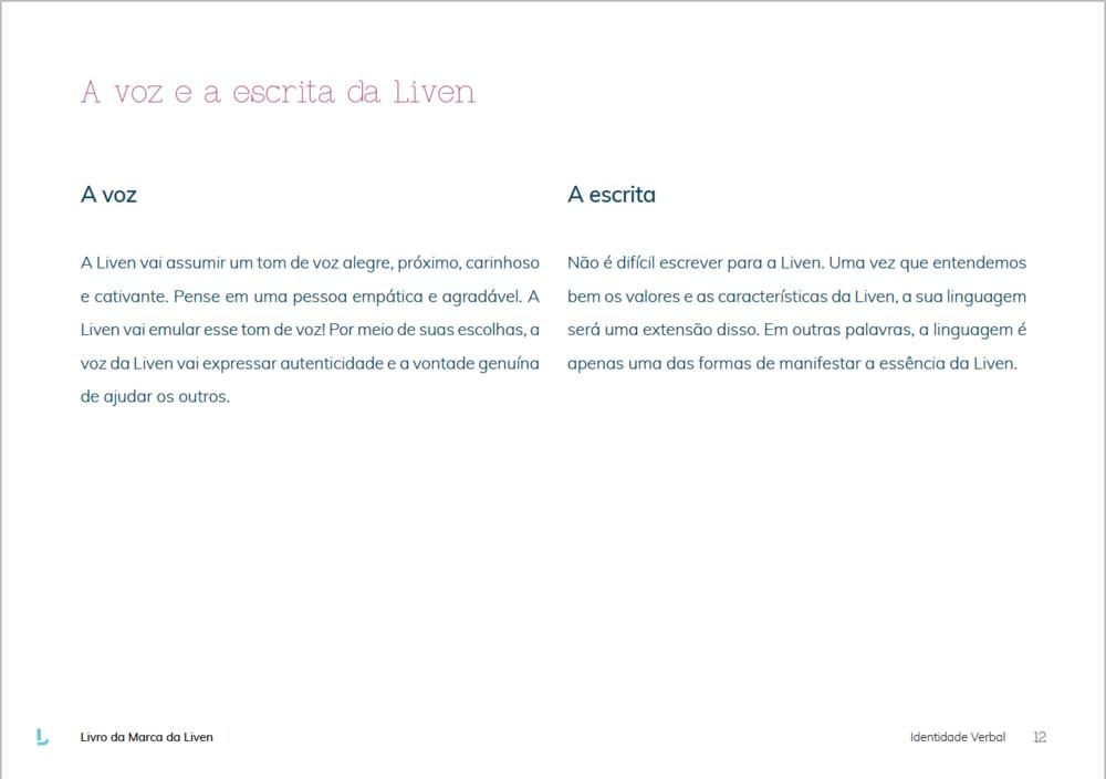 Manual de Identidade Verbal, Liven, Amora Consultoria Linguística.