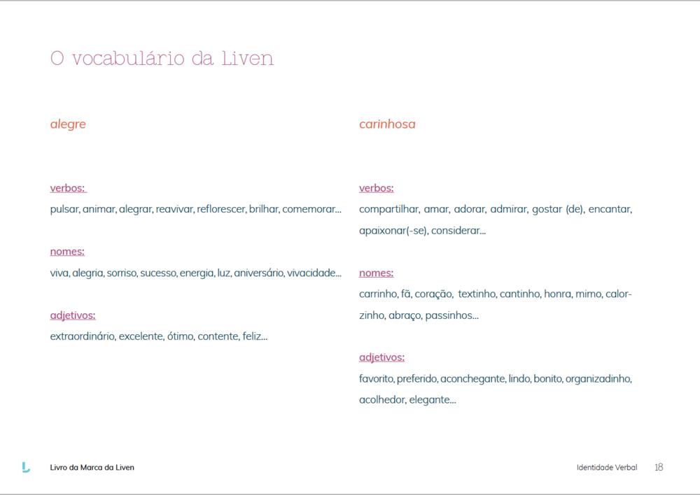 Manual de Identidade Verbal, Vocabulário Liven, Amora Consultoria Linguística.