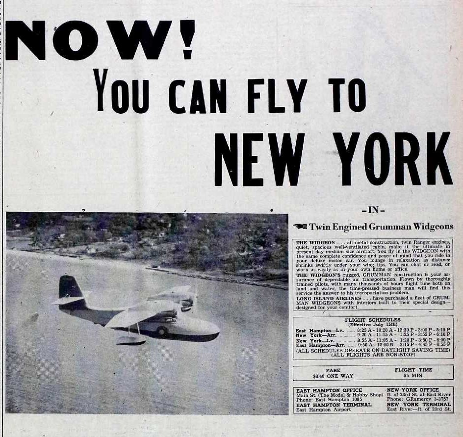 Seaplane flights from New York to East Hampton in 1946