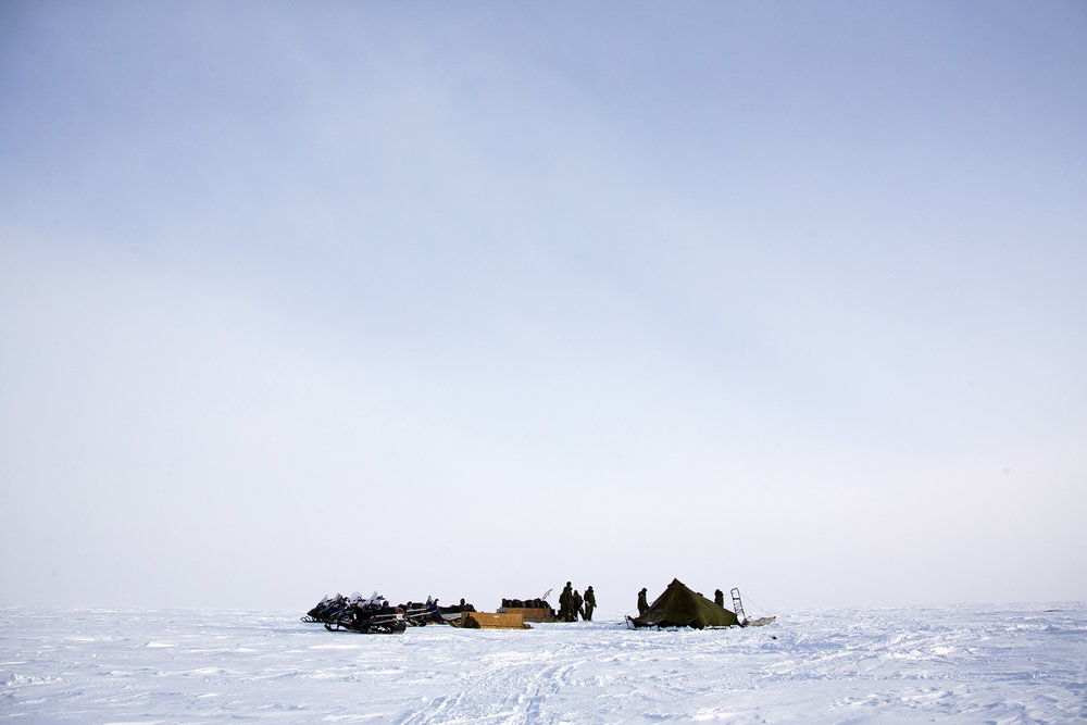 A Canadian military camp in the high arctic while on patrol, Hall Lake, Nunavut, Canada.