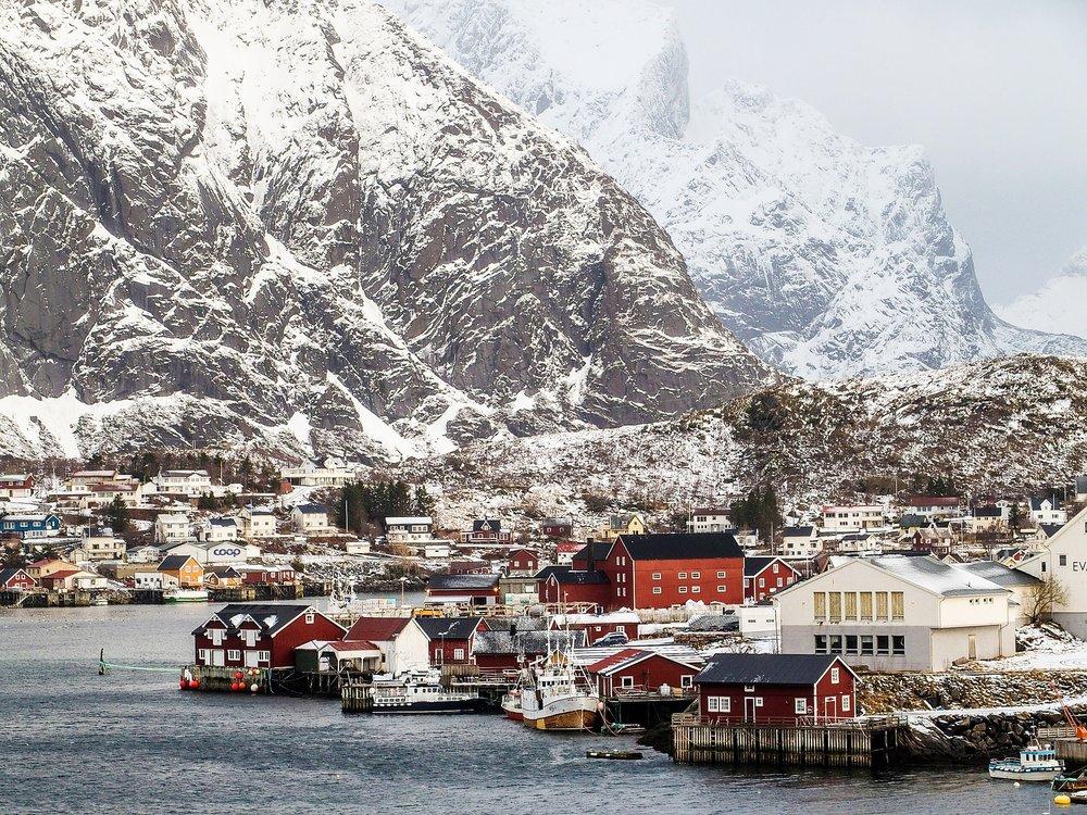 The Lofoten coastline in the winter.