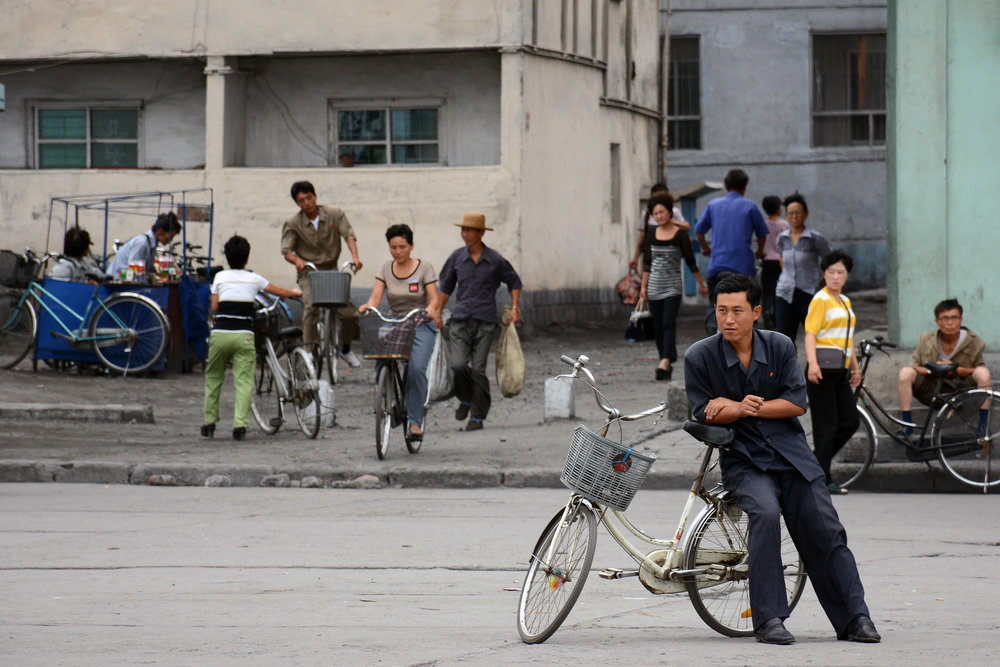People on the streets in central Hamhung.