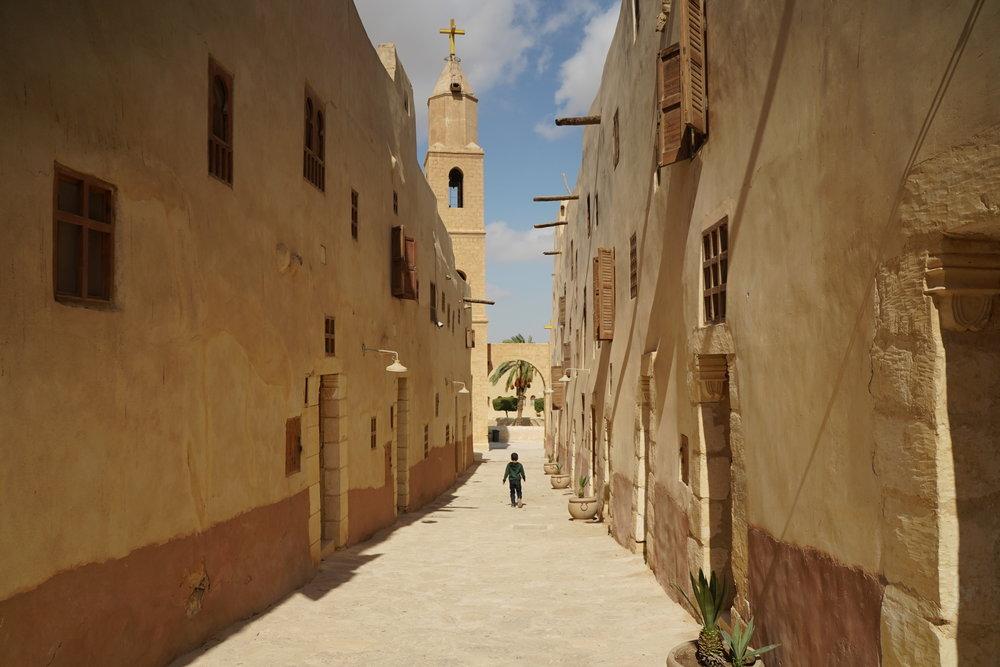 Narrow streets of Saint Anthony's Monastery.