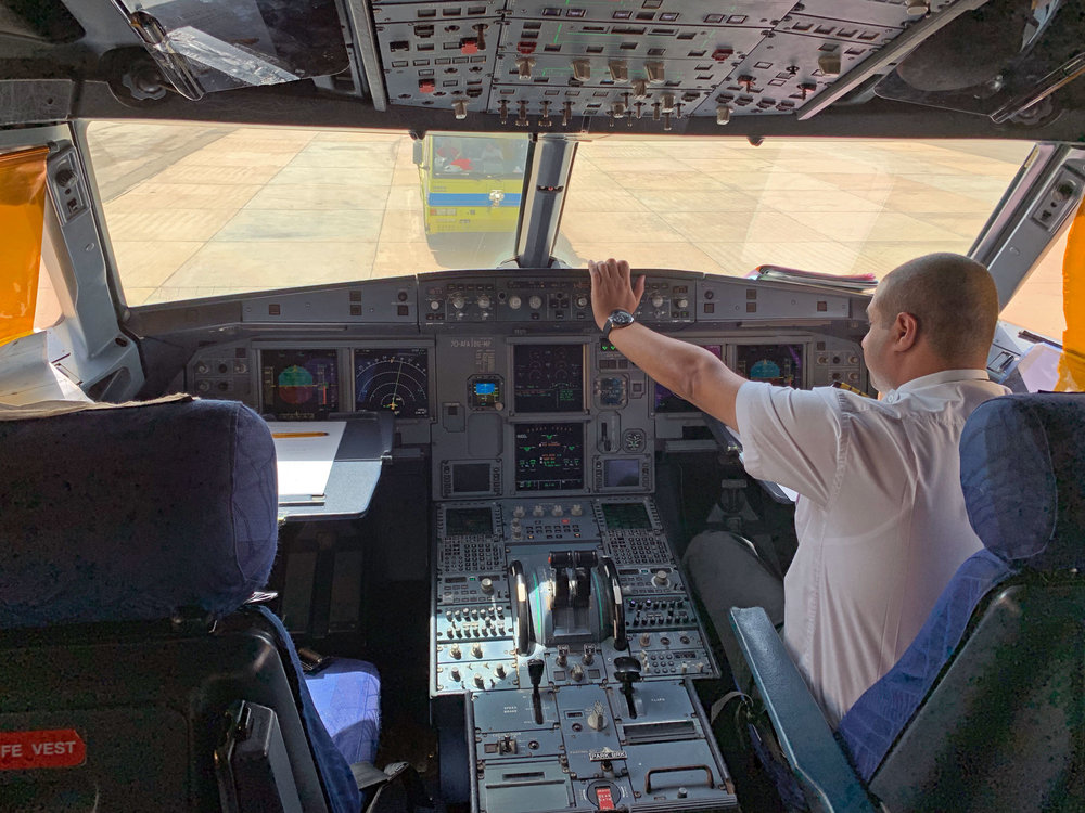 Inside the cockpit of Yemenia Flight IY606 from Seiyun to Cairo.
