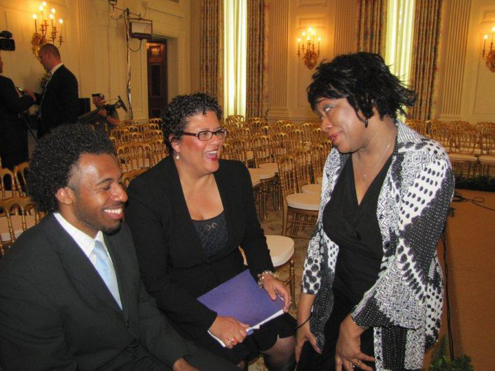 Professor Dargan at the White House with his former teacher and former Poet Laureate Rita Dove, as well as Obama Inaugural Poet Elizabeth Alexander.