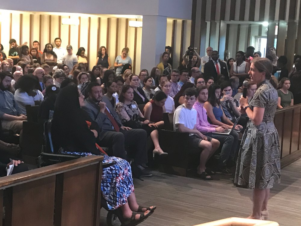 American University President Sylvia Mathews Burwell addresses the community after confederate flags were hung on campus in September.  Photo by Lauren Lumpkin