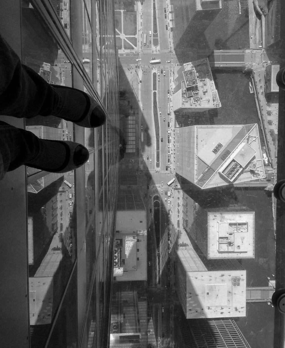 Looking down from the Willis Tower (Sears Tower) Skydeck in Chicago.