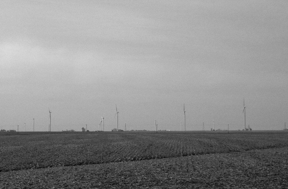 A wind farm in Oneida, Illinois.