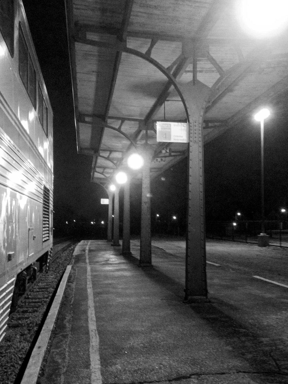 A nighttime stop in Omaha, Nebraska.
