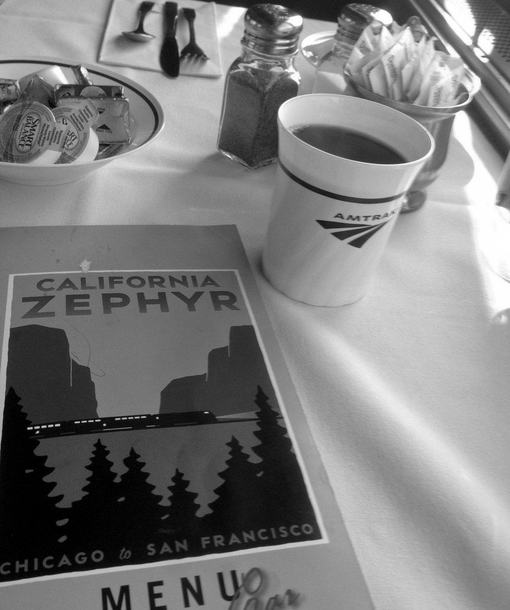 Breakfast as the Zephyr rolls through Nevada.