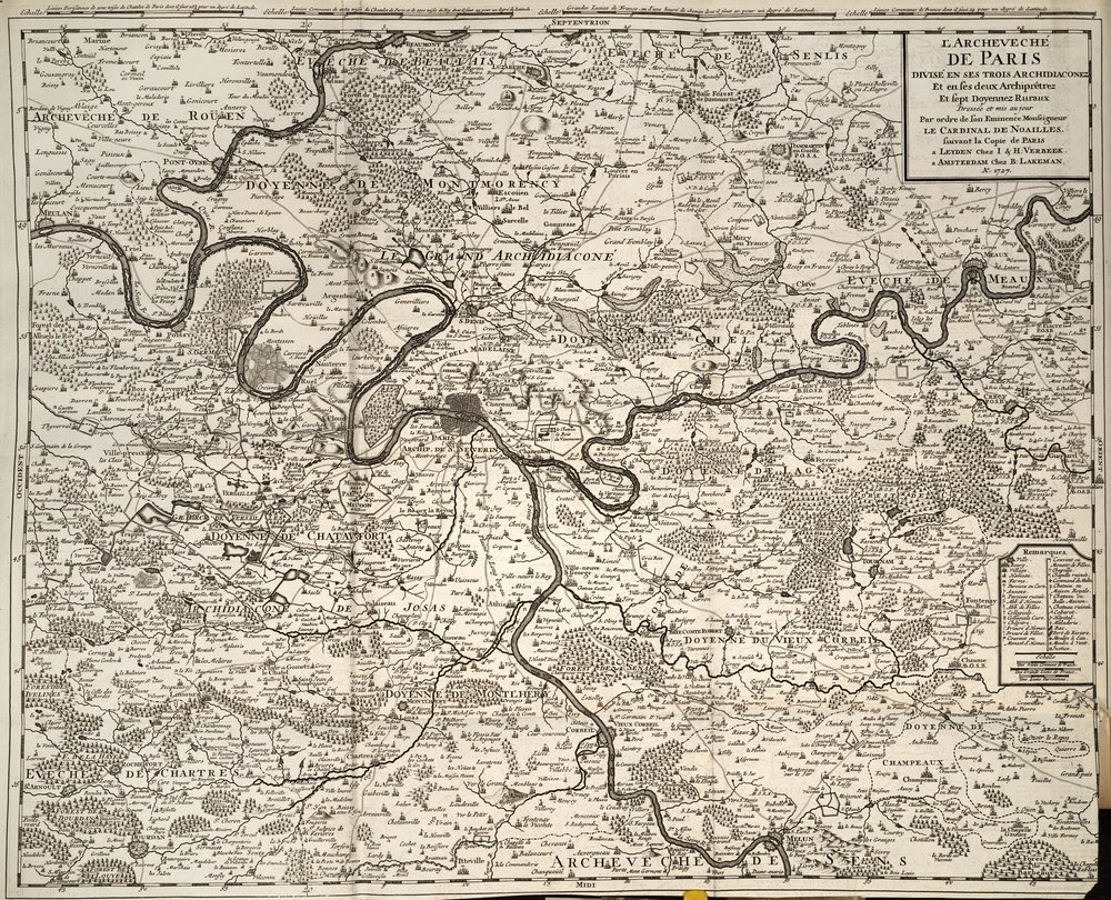 Map of Paris circa 1727 from Botanicon parisiense by Sébastien Vaillant. Found  here .