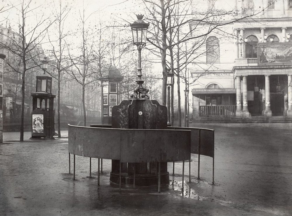 A 19th century public urinal in Paris made a nice alternative to the corners of peoples' homes. (Public domain image from the State Library of Victoria.)