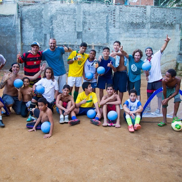 Just another #epic ball drop in #Brazil!  We hooked up with a tour group that is bringing tourists deeper into each #favela, like here in #Vidigal, by allowing tourists to stay as guests and to #work and #teach in #orphanages and #schools like Alzira De Aleluia.  The #goal is to teach people that #life in the favela, or #comunidade, does not have to be #dangerous or #poor, but that it should be #fun, #vibrant, #beautiful, #educational, and #inspiring!!!! ... and it is!  #travel #travelwithballs #travelwithpurpose #overland #wanderlust #happy #worldcup #Brasil #RIO #oneworldfutbol #pugg_goals @oneworldfutbol @pugg_goals