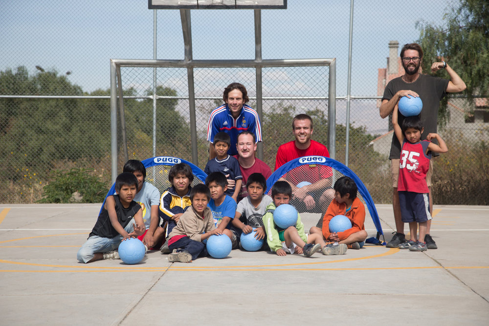"""BY DELIVERING ONE WORLD FUTBOLS AND PUGG PORTABLE GOALS TO THESE KIDS, WE WERE ABLE TO GIVE BACK AND PUT SOME PURPOSE AND ALTRUISM INTO OUR TRAVELS."" — JEREMIE -"