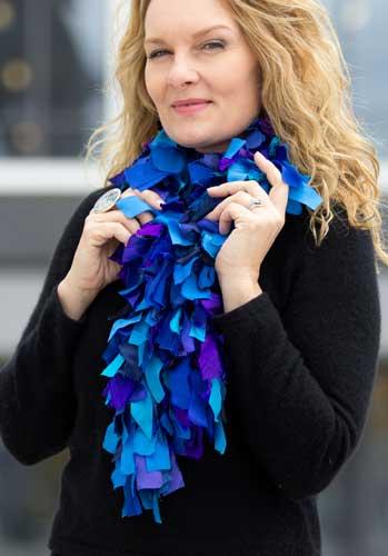 Helen Benninger Blue Silk Scrappy Scarf