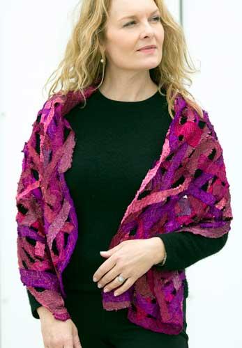 Helen Benninger Pinks Silk Scrappy Shawl