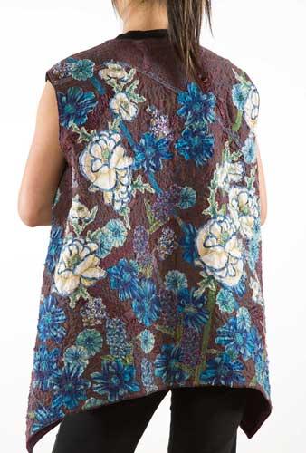 Helen Benninger Blue Flowers Vest