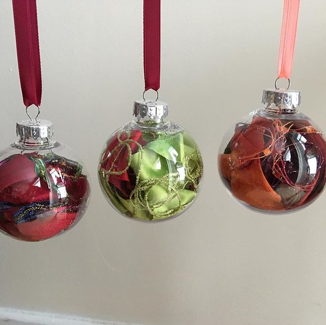 I've been taking all of the little silk scraps left over from my scarves and stuffing them into Christmas ornament balls. Check them out at #StartTheHolidays at factory 163 this weekend #stratfordon