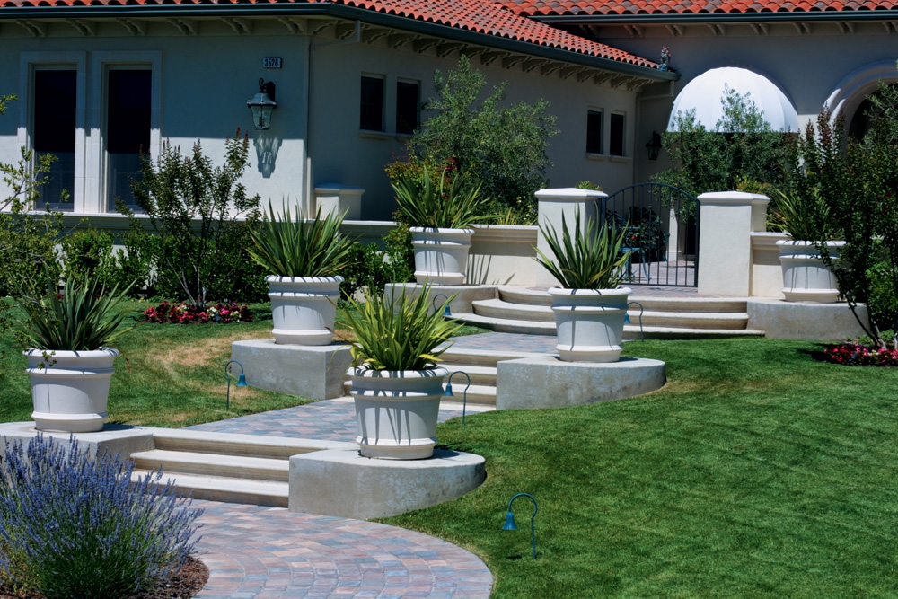 Round Banded Planters & Stair Treads