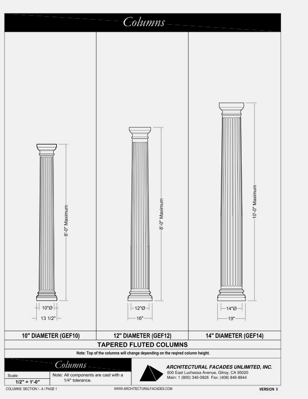 "Tapered Fluted Columns 10"" 12"", 14"" Diameter"