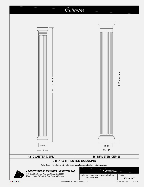 "Straight Fluted Columns 12"" and 18"", Diameter"