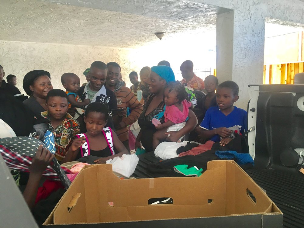 Given clothing and furniture to over 300 refugees from the NNR donation warehouse -