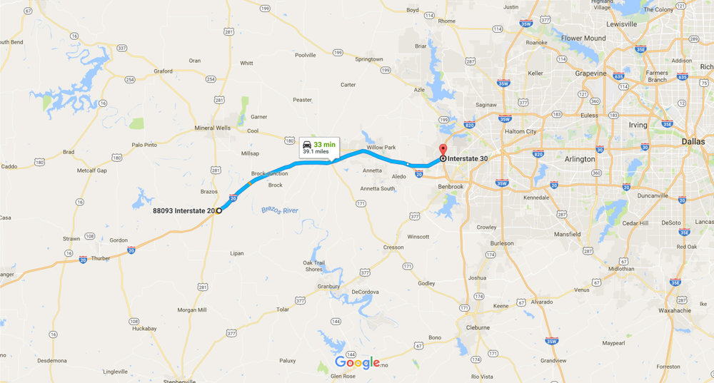 Road map from Fort Worth 88093 I-20, Santo, TX 76472 to I-30, Fort Worth, TX 76116 - Google Maps.jpg