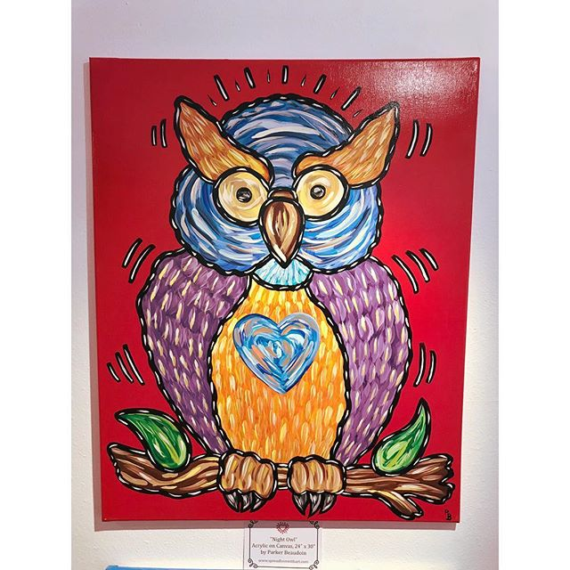 """""""Night Owl"""" by Parker Beaudoin is currently on display during his solo show """"Spread Love With Art"""" 🦉 Come check it out today between 11am and 4pm!"""