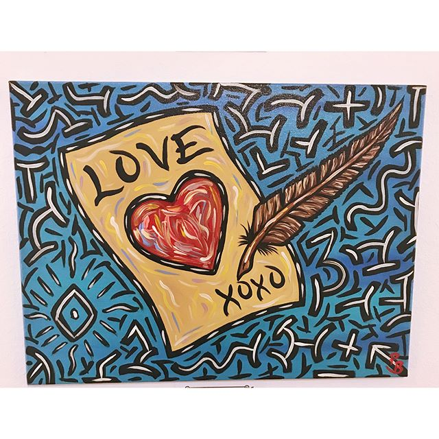 """Tonight is your next to last chance to come see works by Parker Beaudoin in his solo show """"Spread Love With Art"""" 😃 We're open tonight our usual hours of 4:30-9:30, and tomorrow the closing reception will be from 7pm to 10pm. Hope to see you there!"""