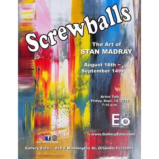 """""""Screwballs"""" is a solo show by local artist Stan Madray 🎨 It will be up for the next month, come out to the opening this Thursday, August 16th, from 7pm to 10pm! The artist will be present and we will have complimentary cold beers 🍻"""